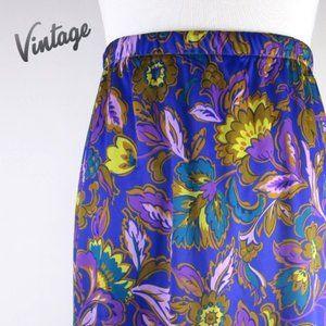 Vintage Purple Floral Midi-Skirt M/L